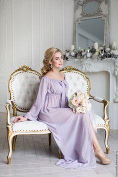 """Купить """"Пудровая сирень"""" - будуарное платье из шифона - бледно-сиреневый, пудровый цвет, длинный пеньюар"""