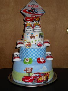 Disney/Pixar Cars Theme Diaper Cake  just4udiapercakes@yahoo.com