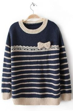 Apricot Blue Long Sleeve Striped Bow Sweater - Sheinside.com Mobile Site