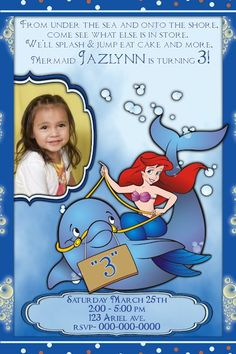 Ariel Birthday Invitation Birthday Bash Pinterest Birthdays - Custom ariel birthday invitations