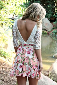 """Soft lace top with a pastel floral skirt...belt included! Rylee is 5'5"""" and is wearing a small."""