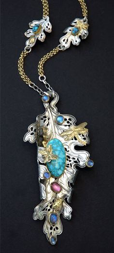 Necklace | Kit Carson.  Hand engraved sterling silver, 18K and 22K gold, turquoise and other gemstones