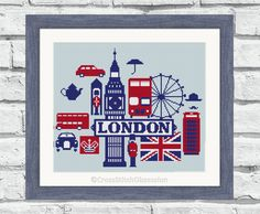 """Modern cross stitch patterns, """"London"""" poster style, designed with DMC, perfect for any room. Instant download printable PDF. (P145) par CrossStitchObsession sur Etsy https://www.etsy.com/fr/listing/245501054/modern-cross-stitch-patterns-london"""