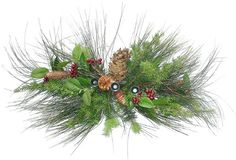Set Of 2 Berry  Christmas Pine Candle Holder Centerpieces * Click on the image for additional details.