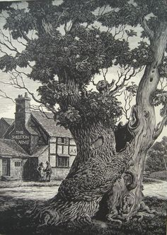 """Joan Hassall (1906-1988) """"The Stricken Oak"""". Frontispiece wood engraving for  """"A Portrait of a Village"""" 1937."""