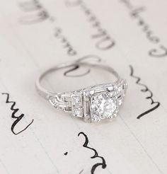 Art Deco Tiered Platinum Engagement Ring: I think I might be in love with the Erica Weiner collection
