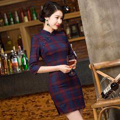 chinese traditional women cheongsam short qipao vintage plaid print elegant oriental dress wedding party clothes P2854