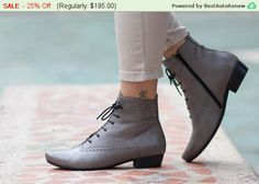 Christmas Sale 25% Off Leather Boots Ankle Boots by BangiShop