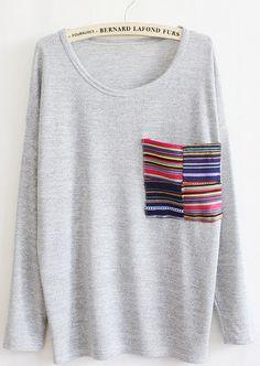 @Penny Douglas Shipping@ Women Cotton Grey T-Shirt One Size VG3014g from Voguegirlgo