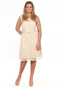 Lace dress with belt/Pale Apricot           Style No: D2110    Fully lined lace dress with a V backline.    This sleeveless dress is waisted and come with a thin belt. #fashion #plussize #2013