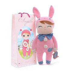 "Easter bunny Angela doll pink ears 12"" plush stuffed animal soft toy girls bag"