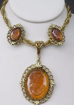 Large Vtg Whiting Davis Amber Glass Raised Cameo Set Necklace Clip-On Earrings #WhitingDavis