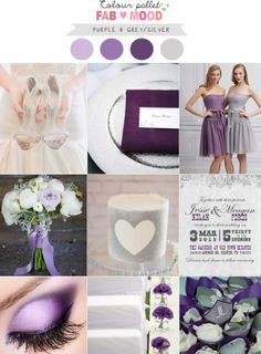 Shades of purple silver wedding colors
