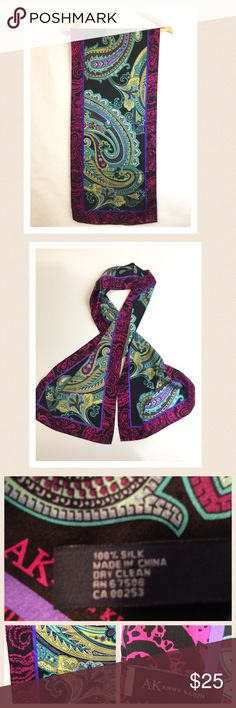 "🆕 Anne Klein silk scarf Beautiful deep vividd colors. 100% silk. Perfect condition. A perfect holiday gift. 🔹length 62"" 🔹width 14"" Anne Klein Accessories Scarves & Wraps"