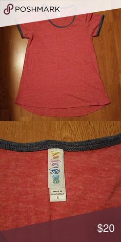Lularoe perfect Soft t-shirt material red with grey trim. Worn a couple times. LuLaRoe Tops Tees - Short Sleeve