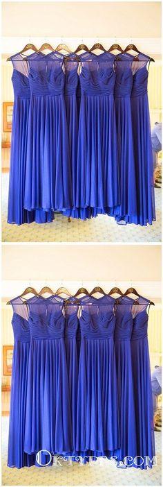 A-line Royal Blue Chiffon Bridesmaid Dresses, Long Wedding Guest Dress – ClaireBridal Cocktail Bridesmaid Dresses, Simple Bridesmaid Dresses, Long Cocktail Dress, Prom Dresses, Bridesmaids, Blue Evening Dresses, Different Dresses, Dream Dress, Dress Collection