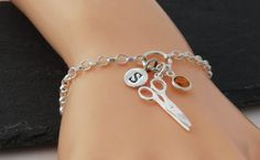 Hairdressers Gift Charm Bracelet Silver by MistyMornDesigns