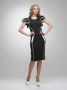 Платье черное с контрастной отделкой и воланами - Enna Levoni 1004478