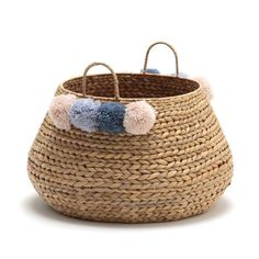 Ikoya Woven Basket LA REDOUTE INTERIEURS This Ikoya basket is crafted from water hyacinth detailed with pretty, brightly coloured wool pompoms. It's a stylish addition to any home and offers. Baskets On Wall, Storage Baskets, Wicker Baskets, Water Hyacinth, Sewing Baskets, Flower Girl Basket, Wicker Furniture, Basket Weaving, Handicraft