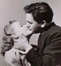 "Priscilla Lane and John Garfield in ""Four Daughters"", 1938 Golden Age Of Hollywood, Vintage Hollywood, Classic Hollywood, Priscilla Lane, John Garfield, Movie Kisses, Movie Couples, Romance Movies, Famous Women"
