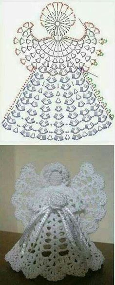 23 Ideas Crochet Christmas Angel Ornaments For 2020 Crochet Angel Pattern, Crochet Angels, Crochet Motifs, Crochet Diagram, Crochet Chart, Thread Crochet, Crochet Christmas Decorations, Crochet Christmas Ornaments, Christmas Crochet Patterns