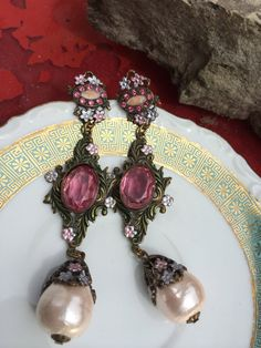 Bananna Bob earrings,  pink crystal and pearls, enameled flowers, pierced earrings, dangle earrings, costume jewelry, vintage earrings, pink by TwoSwansSwimming on Etsy