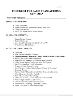 Printable Blank Sample checklist for sales with new loans 4 Form Editable Real Estate Forms, Online Real Estate, Notes Template, Letter Templates, Bill Template, Real Estate Templates, Legal Forms, Reference Letter, Letter Sample