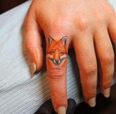 Finger Fox Tattoo