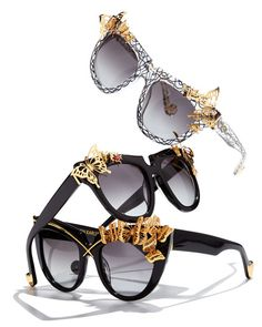 "Anna-Karin Karlsson ""Lusciousness and Wings"" sunglasses. Acetate frames with 24-karat gold-plated hardware. Square gradient gray lenses. Butterfly detail at left frame front. Logo script at arm interi"