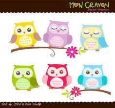 clip art owls clip art Colourful Hoot Owls Digital by moncrayon