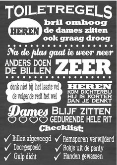 Tekstbord / Tekststicker Toiletregels  Chalkboard typography by VanEtje