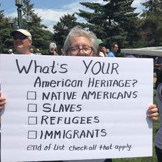 What's your heritage? Native Americans, slaves, refugees, or immigrants. Protest Posters, Protest Signs, Protest Art, No Kidding, Faith In Humanity, The Victim, Social Issues, Social Justice, Thought Provoking