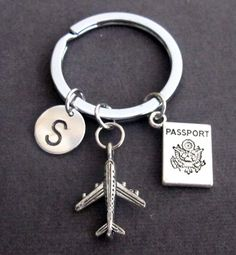 Personalized Passport traveling document, airplane keyring, Flight Attendant Gifts, Airplane Key Chain, Aviation Jewelry, Free Shipping USA by fashionjewelryforeve on Etsy https://www.etsy.com/listing/476134376/personalized-passport-traveling-document
