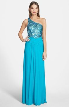 Hailey Logan Sequin Bodice One Shoulder Gown (Juniors) available at #Nordstrom