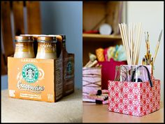 Starbucks Frappuccino boxes re-purposed into craft storage.