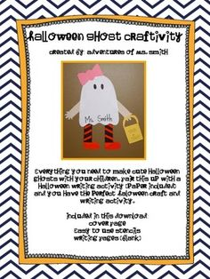 Halloween Ghost Craftivity!Everything you need to make cute Halloween ghosts with your children. Pair this up with a Halloween writing activity (paper included) and you have the perfect Halloween craft and writing activity.Writing Activity Idea:Have your students write a descriptive paragraph describing the person who is dressed as a ghost.