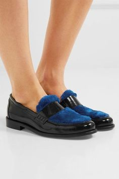 Heel measures approximately 25mm/ 1 inch Black glossed-leather, cobalt-blue faux fur Slip on Made in Italy