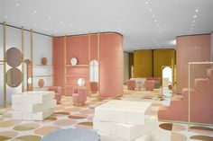 """Via <a href=""""http://www.dezeen.com/2016/10/01/india-mahdavi-pairs-pink-and-yellow-for-red-valentino-store-in-london/""""><u>Dezeen</u></a>. Created by Editor."""