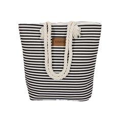 Beach Bag Canvas Women Summer Shoulder Striped Large Capacity Shopping Handbag #BeachBagChina #Casual #Versatile