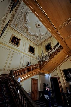 Belton House, grand staircase, 17th century. Northumberland, Lincolnshire, England, UK