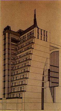 Terraced Building with exterior elevators.