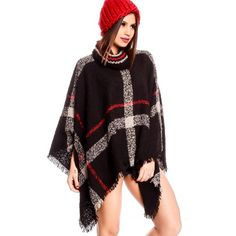 black multi print design sleeveless turtle neck style casual poncho (260.260 IDR) ❤ liked on Polyvore featuring black and black poncho