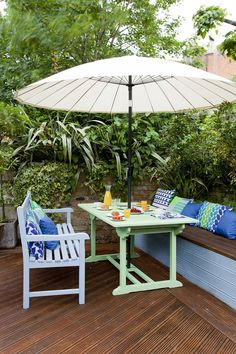 Easy Ideas for Adding Colour to the Garden — Heart Home : Table: Cuprinol Garden Shades in Green Orchid. Bench: Cuprinol Garden Shades in Winters Night (both Decking: Cuprinol Anti Slip Decking Stain (RRP for in Boston Teak. Painted Garden Furniture, Backyard Furniture, Outdoor Furniture Sets, Furniture Plans, Small Garden Design, Small Space Gardening, Disney Family, Outdoor Spaces, Outdoor Living