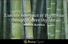 Execute every act of thy life as though it were thy last. - Marcus Aurelius
