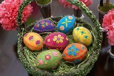 Appliqued and Embroidered Wool Eggs 1: by EweniversityPatterns