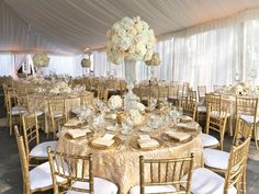 For a gorgeous gilded wedding use luxurious textured table linen in shades of gold. #weddingreception
