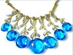 White Gold Diamond Necklace Sets, Diamond Necklace Sets with Topaz stones. #fashion #necklace #jewellery