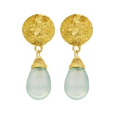 Boucles d'oreilles goutte d'or Azuni (amazonite)