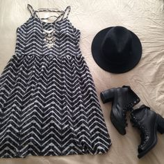 "chevron lace dress worn twice. great condition. size L, fits like a M. chest: approx. 15"" across. length: 36.5"" strap to hem. lined. [ hat, necklace & shoes Not for Sale ] Not Modeling. No Hold. No Trades. No PayPal. Price is Firm. Xhilaration Dresses"