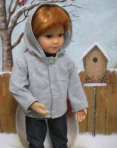 Fits-18-Inch-Boy-Kidz-n-Cats-Doll-Classic-Heather-Gray-Hooded-Jacket-D1180